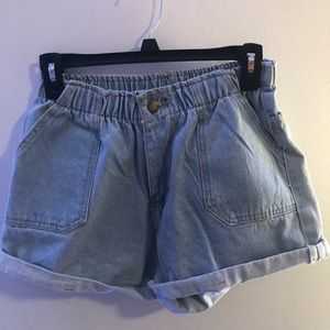 Pants - Paper-bag cinched waist denim shorts